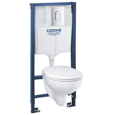 Grohe inbouw toiletset rimfree softclose quickrelease wit met bedieningsplaat chroom