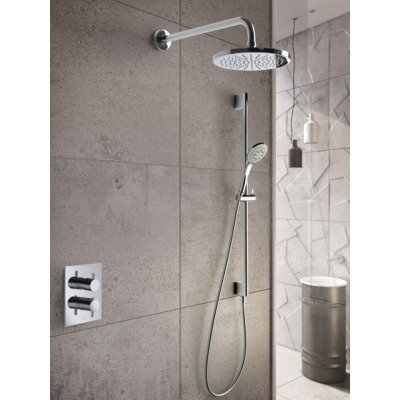 Hotbath Get Together complete thermostatische douche inbouwset Laddy V met 2 weg stop omstel chroom staafmodel handdouche met plafondbuis 15cm diameter douchekop 25cm inclusief glijstang