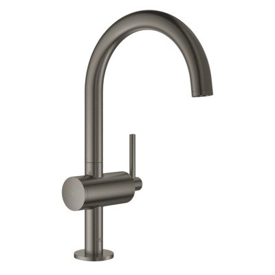 Grohe Atrio 1-gats wastafelkraan L-size met push open brushed hard graphite