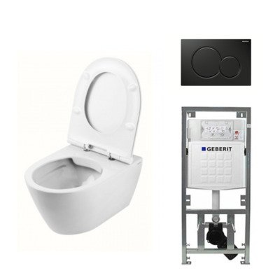 Throne Bathrooms Salina Rimfree toiletset inclusief toiletzitting, inbouwreservoir en mat zwart bedieningspaneel