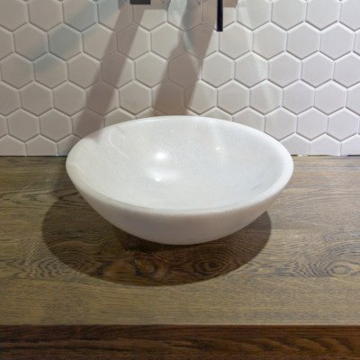 Saniclass Arino waskom marmer 30x12cm rond wit OUTLET