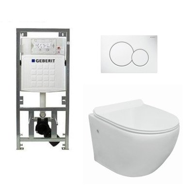 Nemo Go toiletset compact Rimless inclusief UP320 toiletreservoir met softclose en quickrelease toiletzitting met bedieningsplaat wit