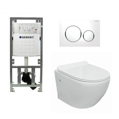 Go toiletset compact Rimless inclusief UP320 toiletreservoir met softclose en quickrelease toiletzitting met sigma20 bedieningsplaat wit