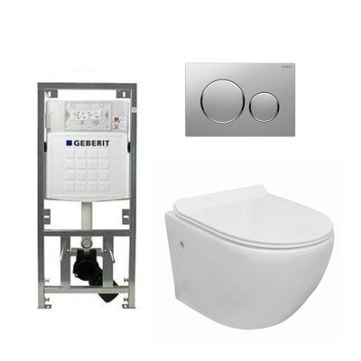 Go toiletset compact Rimless inclusief UP320 toiletreservoir met softclose en quickrelease toiletzitting met sigma20 bedieningsplaat mat chroom