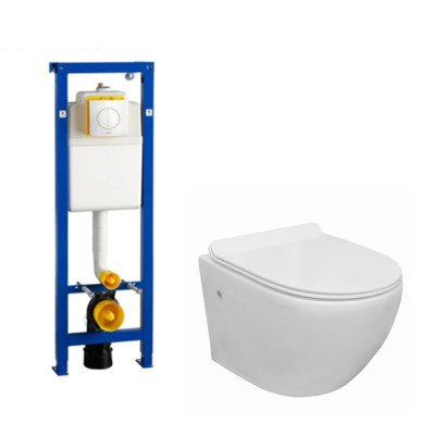 Go toiletset compact Rimless inclusief Wisa XS toiletreservoir met softclose en quickrelease toiletzitting met bedieningsplaat wit