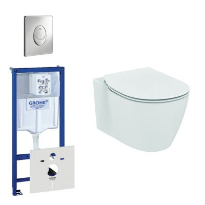 Ideal Standard Connect toiletset bestaande uit inbouwreservoir, toiletpot, toiletzitting en bedieningsplaat chroom