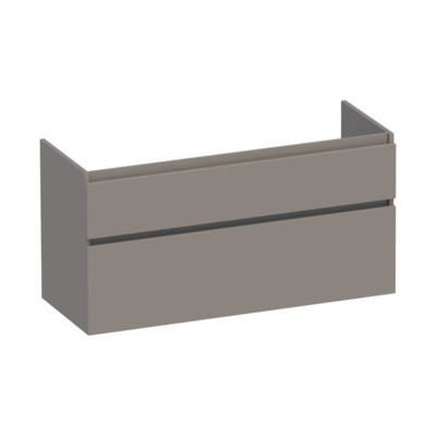 Saniclass Advance Onderkast 119x60x45.5cm Greeploos 2 lades 1 sifonuitsparing MDF Mat Taupe