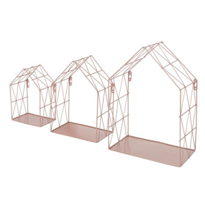 Duraline Steel Storage House S/3 25x35.5x14cm Metal Pink