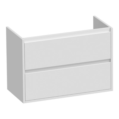 Saniclass New Future Small onderkast 80.2x39x55cm greeploos hangend met 2 softclose lades MDF hoogglans wit