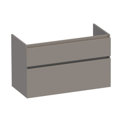 Saniclass Advance Onderkast 99x60x45.5cm Greeploos 2 lades 1 sifonuitsparing MDF Mat Taupe