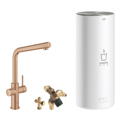 Grohe Red 1-gats keukenkraan duo m. l-uitloop m. L-size boiler brushed warm sunset