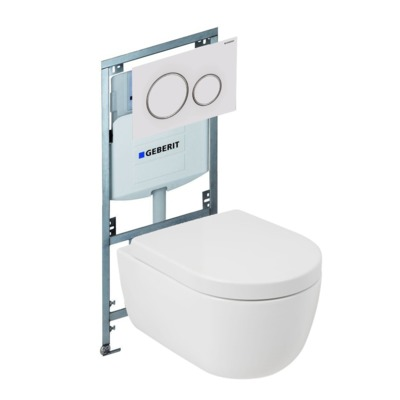 Plieger Nola toiletset Rimless Geberit inbouwreservoir softclose en quickrelease toiletzitting met bedieningsplaat mat wit