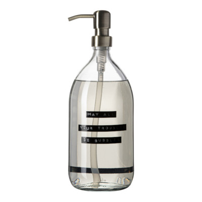 Wellmark Handzeep helder glas messing pomp 1000ml tekst MAY ALL YOUR TROUBLES BE BUBBLES