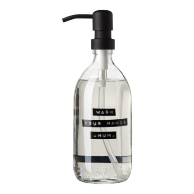 Wellmark Handzeep helder glas zwarte pomp 500ml tekst WASH YOUR HANDS-MUM-