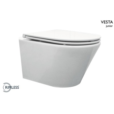 Wiesbaden Vesta-Junior rimless wandcloset wit 47cm +Flatline zitting wit