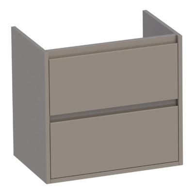 Saniclass New Future Small onderkast 59x39x55cm greeploos hangend met 2 softclose lades MDF hoogglans taupe