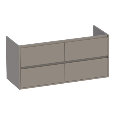 Saniclass New Future onderkast 119x45.5x55cm greeploos hangend 2 sifonuitsparingen met 4 softclose lades MDF hoogglans taupe