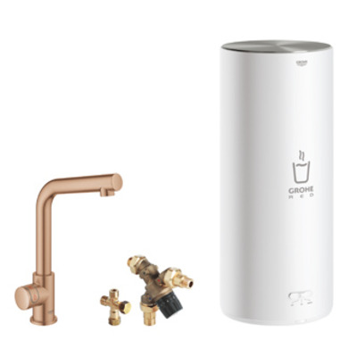 Grohe Red 1-gats keukenkraan mono m. l-uitloop m. L-size boiler brushed warm sunset