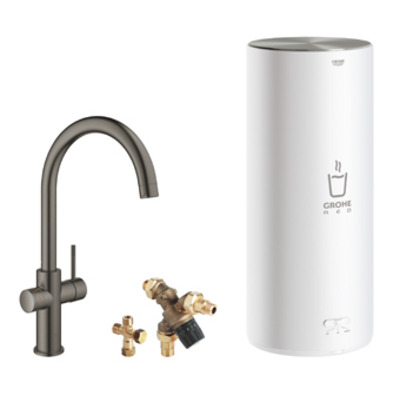 Grohe Red 1-gats keukenkraan duo m. c-uitloop m. L-size boiler brushed hard graphite