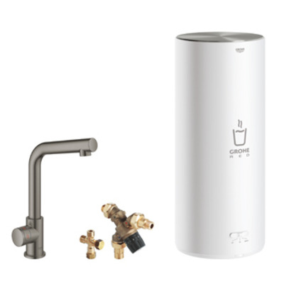 Grohe Red 1-gats keukenkraan mono m. l-uitloop m. L-size boiler brushed hard graphite
