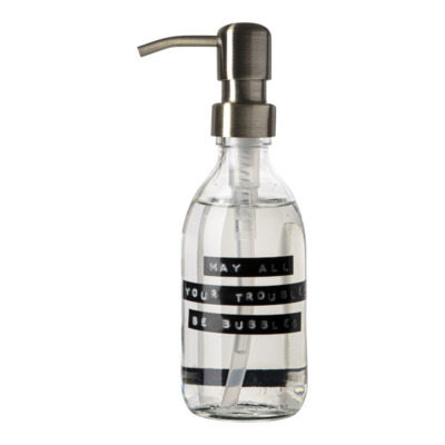 Wellmark Savon pour les mains Verre transparent Pompe laiton 250ml Texte MAY ALL YOUR TROUBLES BE BUBBLES