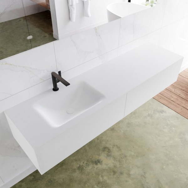 MONDIAZ LAGOM 170cm badmeubel solid surface talc 2 lades Wastafel cloud links 1 kraangat SW409040