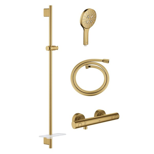Grohe Grohtherm thermostatische doucheset smartactive rond cool sunrise geborsteld SW98748/SW472417/