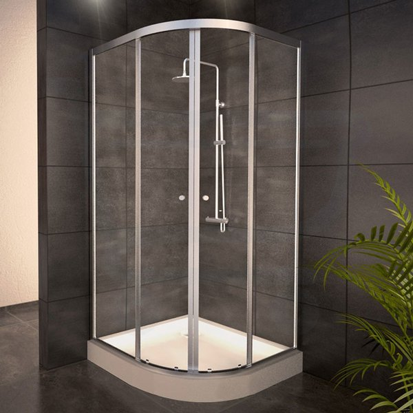 adema glass cabine de douche quart de rond avec 2 portes coulissantes 100x100x185cm vitre claire. Black Bedroom Furniture Sets. Home Design Ideas