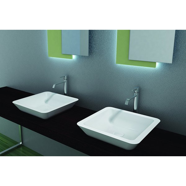 Crosstone Solid surface opbouwwastafel B42.5xD42.5xH10.5cm vierkant wit mat CTS2058
