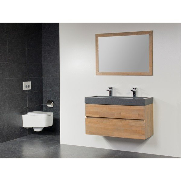 Saniclass Natural Wood Badmeubelset 120cm hangend model grey oak met wastafel natuursteen grey stone