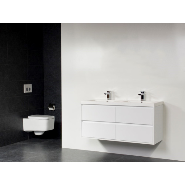 Saniclass New Future Foggia meuble sans miroir 120cm Blanc brillant SW17802