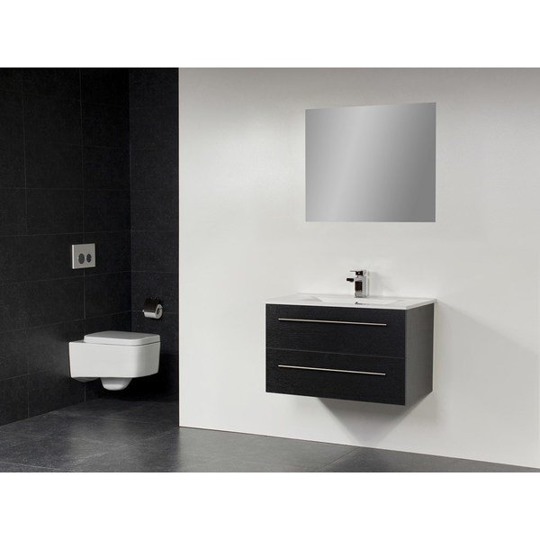 Saniclass Exclusive Line Kera 80 badmeubel Black Diamond met spiegel SW2688