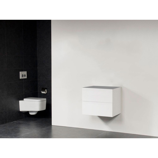 Saniclass Exclusive Line Small onderkast 59x39x50cm 2 lades met softclose MDF wit hoogglans 10641