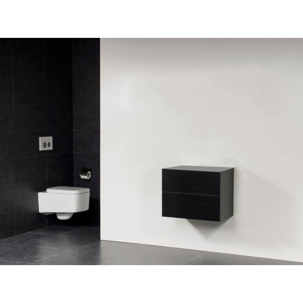 Saniclass Exclusive Line Small onderkast 59x39x50cm 2 lades met softclose MFC Black Wood 10642