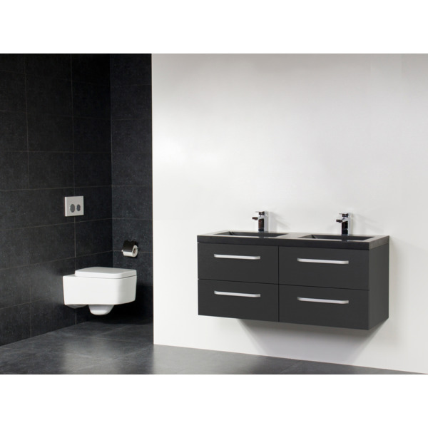 Saniclass Corestone 13 Set de meubles 120cm Black 2 trous pour robinetterie 4 tiroirs Diamond SW10847