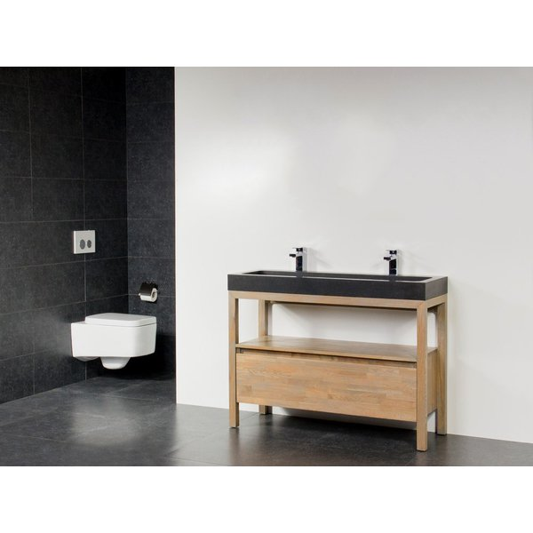 Saniclass Natural Wood Set de meubles 120cm Grey Oak avec lavabo en pierre naturelle Black Spirit 2 trous pour robinetterie sans miroir SW9165