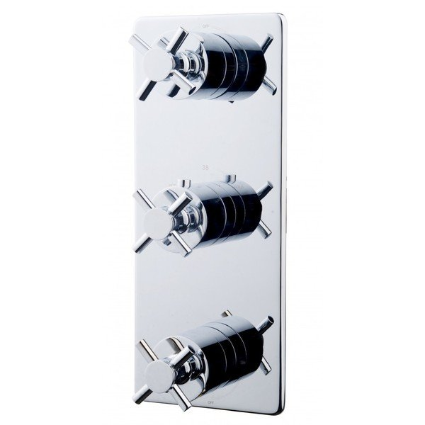 Wiesbaden Cross Partie de finition thermostatique 3 voies chrome SW21039