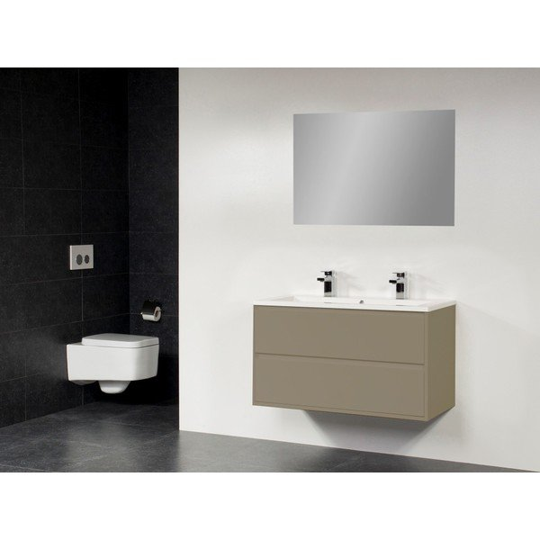 Saniclass New Future Bologna badmeubel 120cm 1 sifonuitsparing met spiegel taupe SW47783