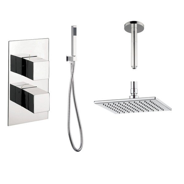 crosswater douche encastrable complet avec inverseur 2 voies et douche de t te carr 20cm avec. Black Bedroom Furniture Sets. Home Design Ideas
