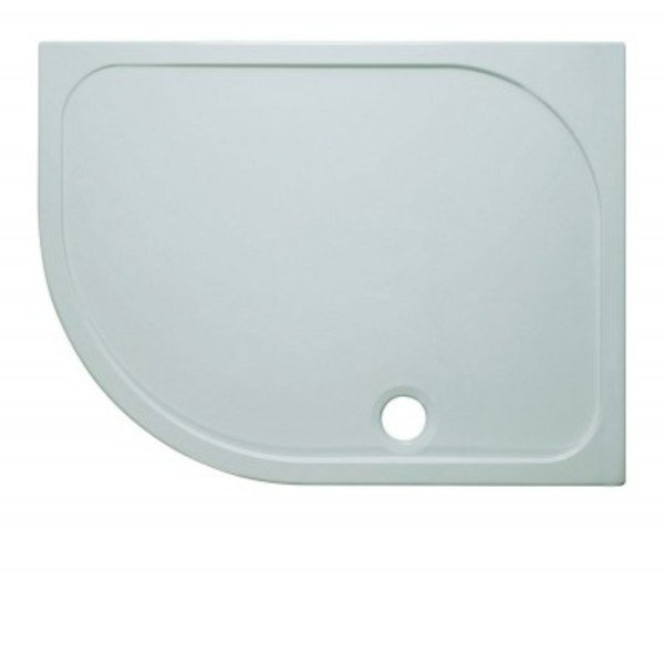 Simpsons Shower Tray douchebak 80x120x4.5cm links inclusief 90mm afvoer 55 radius met antikalkbehand