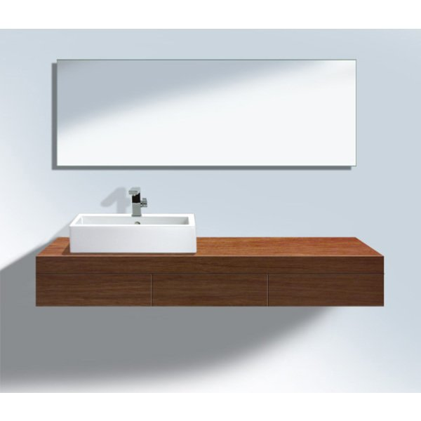 Duravit Fogo console inclusief 3 dragers inclusief 3 laden 150x55cm uitsparing links noten 0292190