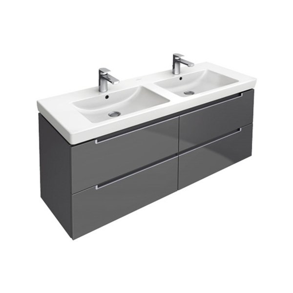 Villeroy boch subway 2 0 double lavabo pour meuble 130cm for Meuble subway villeroy et boch