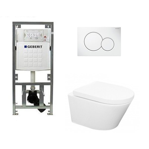 Wiesbaden Vesta toiletset Rimless 52cm inclusief UP320 toiletreservoir en softclose toiletzitting met bedieningsplaat wit SW69584