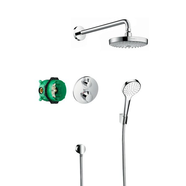 Hansgrohe Croma select s showerset compleet met ecostat s thermostaat chroom GA47636