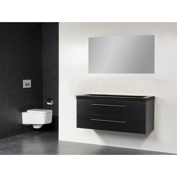 Saniclass Exclusive line Corestone 120 badmeubel black wood 2 laden 0 kraangaten met spiegel SW21658