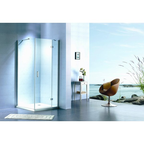 Saniclass Cansano vaste wand exclusief profiel 89x89x195 links aluminium OUTLET OUT2987