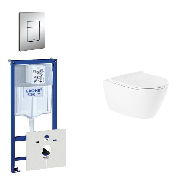 Throne Salina Rimfree toiletset bestaande uit inbouwreservoir, rimfree wandcloset met softclosetoile