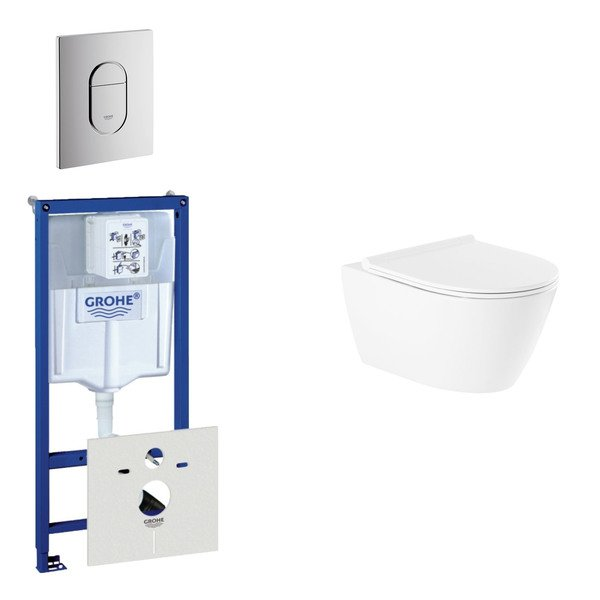 Throne Salina Rimfree toiletset bestaande uit inbouwreservoir, rimfree wandcloset met softclose toil
