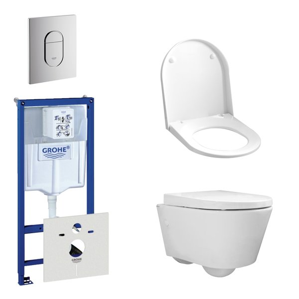 Throne Bathrooms Salina Compact toiletset bestaande uit inbouwreservoir, compact wandcloset met toil