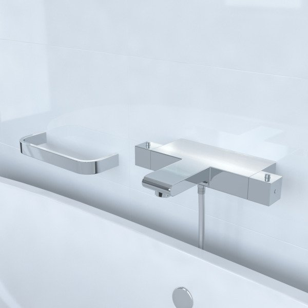 Saniclass Brauer Square CS bad en douche thermostaatkraan plus Beugel chroom 7902+